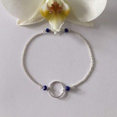 Small ring bracelet silver 925 small blue stones
