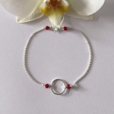 Small ring bracelet silver 925 small red stones
