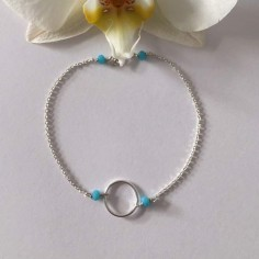 Small ring bracelet silver 925 small turquoise stones