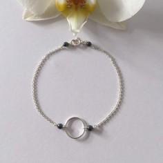 Small ring bracelet silver 925 small hematite stones