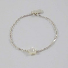 Chain bracelet silver 925 small white mother of pearl star