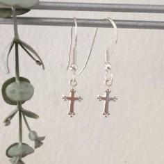 Boucles d'oreilles petites croix argent