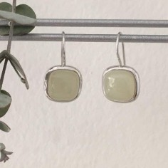 Yellow calcedonie square stones earrings silver 925