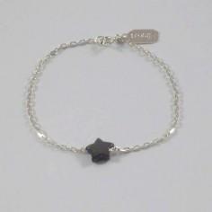 Bracelet chaine argent Etoile nacre grise