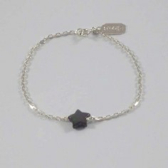Chain bracelet silver 925 small grey mother of pearl star