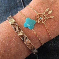 Chain bracelet gold plated turquoise cross