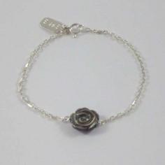 Bracelet chaine argent Rose nacre grise
