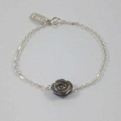 Chain bracelet silver 925 grey mother of pearl rose