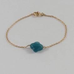 Chain bracelet gold plated green duck cross