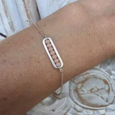 Chain bracelet silver 925 small link beige stones
