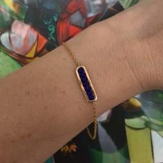 Bracelet chaine plaqué or maillon mini pierres bleues facettées