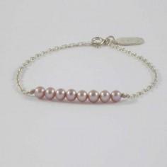 Bracelet chaine argent Barrette perles d'eau douce roses