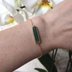 Bracelet chaine plaqué or maillon mini pierres onyx vert facettées
