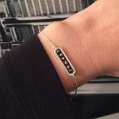 Chain bracelet silver 925 small link hematite stones