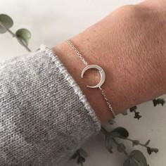 Chain bracelet silver 925 small moon zircons