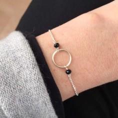 Small ring bracelet silver 925 small black stones
