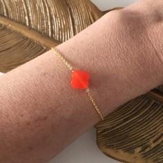 Chain bracelet gold plated orange cross