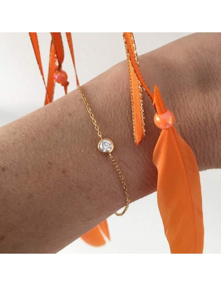 Chain bracelet gold plated zirconium