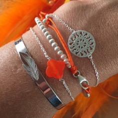 Chain bracelet silver 925 orange cross stone
