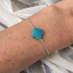 Chain bracelet silver 925 turquoise cross stone