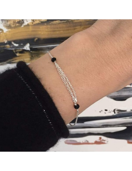 Triple chains bracelet silver 925 small black stones
