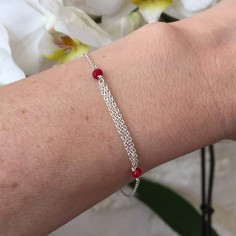 Triple chains bracelet silver 925 small red stones