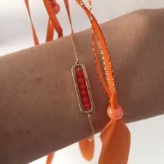 Bracelet chaine plaqué or maillon mini pierres oranges facettées