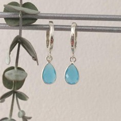 Small creole drop earrings silver 925