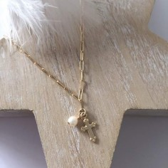 Cross gold plated rectangle chain necklace