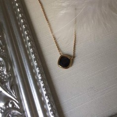 Black square stone chain necklace gold plated