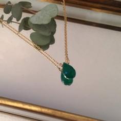 Collier chaine plaqué or Goutte onyx vert