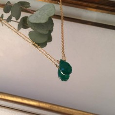 Faceted green onyx drop chain necklace gold plated