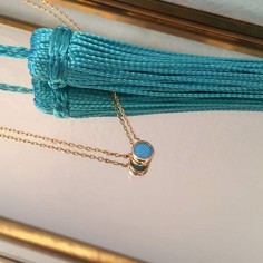 Small turquoise chain necklace gold plated