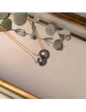 Dark grey baroque freshwater pearl chain necklace gold plated