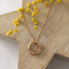 Three small rings gold plated chain necklace