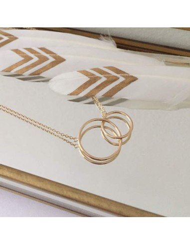 Two thin rings chain necklace gold plated