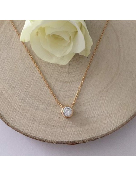 Small zircon chain necklace gold plated