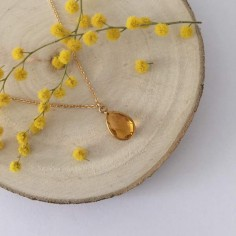 Faceted citrine drop chain necklace gold plated