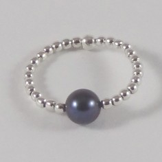 Bague minis perles argent Perle d`eau douce noire