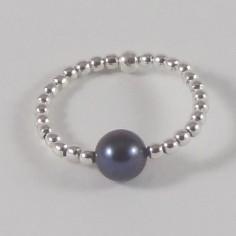 Bague minis perles argent petite Perle d'eau douce noire