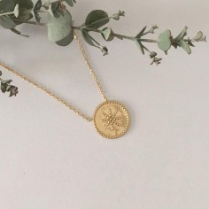 Chain necklace gold plated beads circled star
