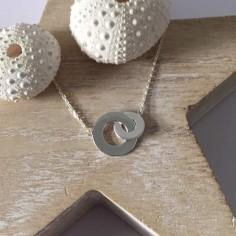Collier chaine argent 2 Anneaux larges