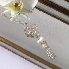 Baroque knot chain necklace silver 925 small pompom white freshwater pearl