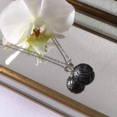 Black Tahiti pearl chain necklace silver 925