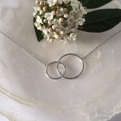 Two thin rings chain necklace silver 925
