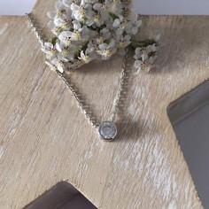 Small zircon chain necklace silver 925