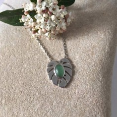 Aventurine leaf medal chain necklace silver 925