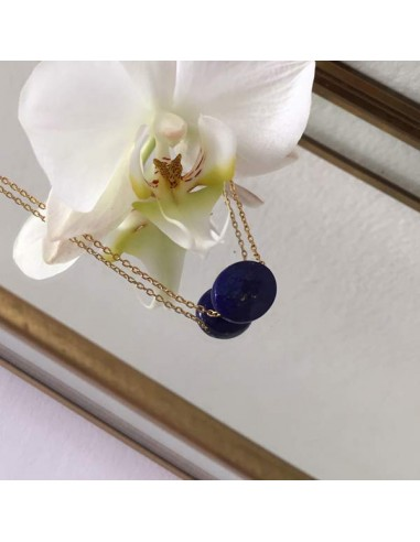 Oval faceted lapis lazuli stone gold plated chain necklace