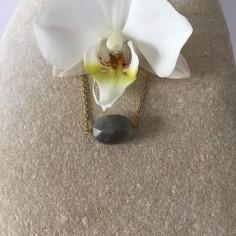 Collier chaine plaqué or Labradorite ovale facettée