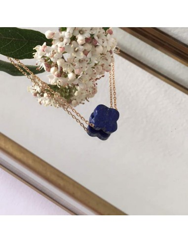 Flat lapis lazuli cross chain necklace gold plated